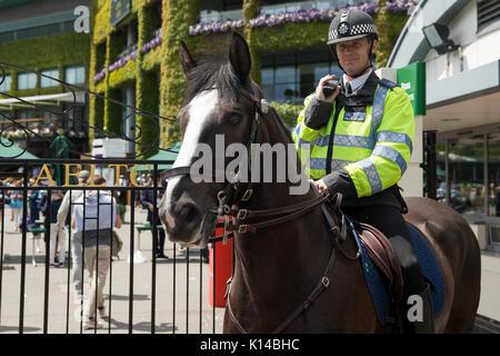 Horse mounted police outside Wimbledon Championships - Stock Photo