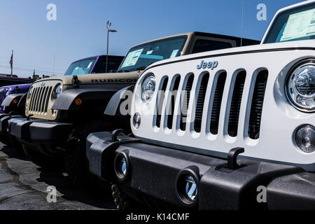Kokomo - Circa August 2017: Jeep Automobile Dealership. Jeep is a subsidiary of Fiat Chrysler Automobiles. FCA is - Stock Photo