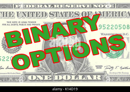 Render illustration of 'BINARY OPTIONS' title on One Dollar bill as a background - Stock Photo