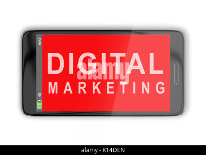 3D illustration of 'DIGITAL MARKETING' title on cellular screen, isolated on white. Communication concept. - Stock Photo