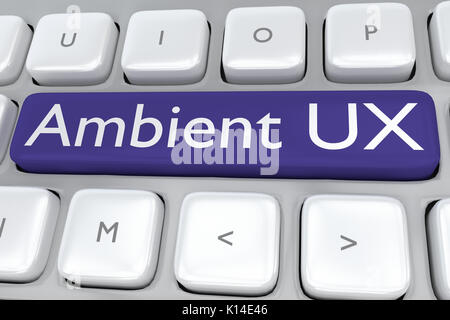 Render illustration of computer keyboard with the print 'Ambient UX' on a dark blue button - Stock Photo