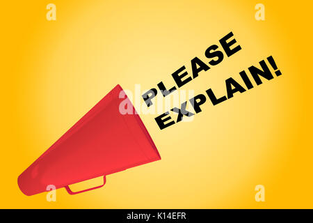 3D illustration of 'PLEASE EXPLAIN!' title flowing from a loudspeaker - Stock Photo