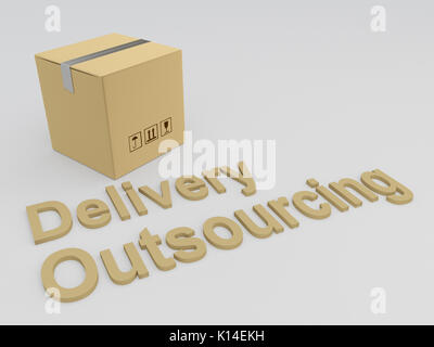 3D illustration of 'Delivery Outsourcing' title with a carton box as a background - Stock Photo