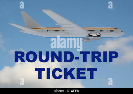 3D illustration of 'ROUND-TRIP TICKET' title on cloudy sky as a background, under an airplane. - Stock Photo