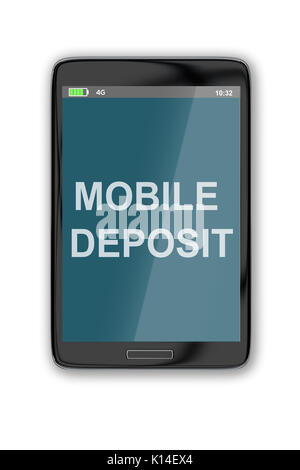 3D illustration of 'MOBILE DEPOSIT' title on cellular screen, isolated on white. Communication concept. - Stock Photo