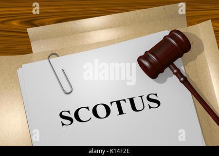 3D illustration of 'SCOTUS' title on legal document - Stock Photo