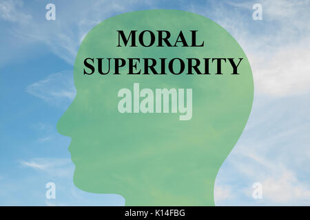 Render illustration of 'MORAL SUPERIORITY' script on head silhouette, with cloudy sky as a background. - Stock Photo
