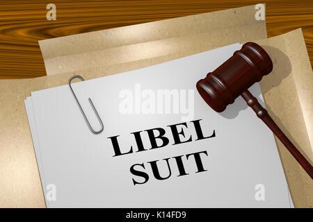 3D illustration of 'LIBEL SUIT' title on legal document - Stock Photo