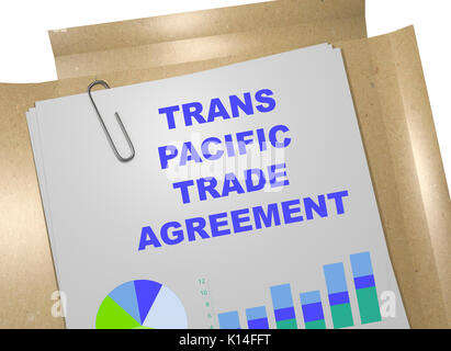 3D illustration of 'TRANS PACIFIC TRADE AGREEMENT' title on business document - Stock Photo
