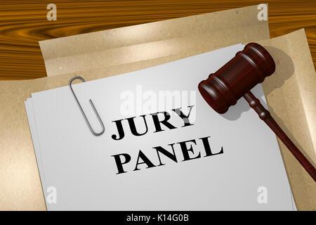 3D illustration of 'JURY PANEL' title on legal document - Stock Photo