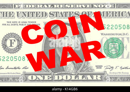 Render illustration of 'COIN WAR' title on One Dollar bill as a background - Stock Photo