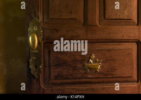 Bathroom door ornament detail from a colonial house in SE Brazil - Stock Photo