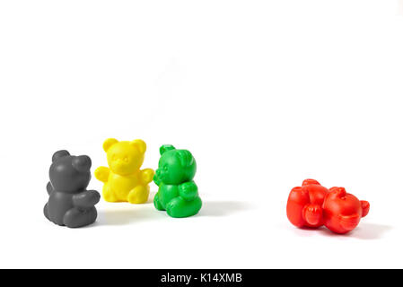 Three toy bears in the colors of the coalition parties in 2017 in Schleswig-Holstein (Germany) with the former ruling - Stock Photo