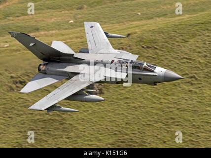 RAF Tornado GR4 on a low level flying sortie in the Mach Loop LFA7 - Stock Photo