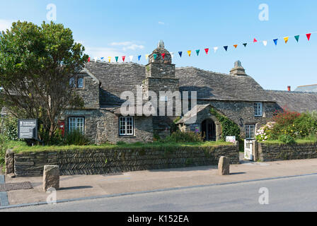 a 14th century building, the old post office in tintagel, cornwall, england, britain, uk. - Stock Photo