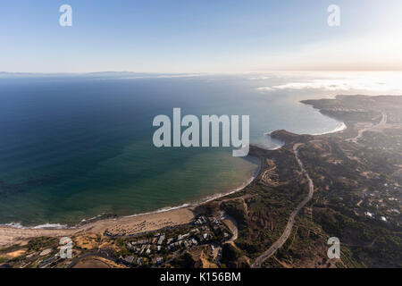 Aerial view towards Portguesse Bend and Abalone Cove in Rancho Palos Verdes, California. - Stock Photo