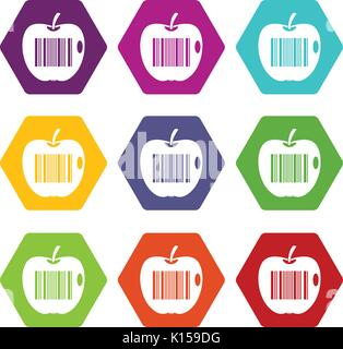 Code to represent product identification icon set color hexahedron - Stock Photo