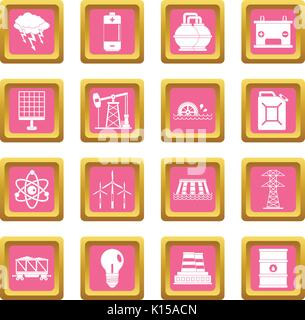 Energy sources items icons pink - Stock Photo