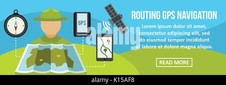 Routing gps navigation banner horizontal concept - Stock Photo