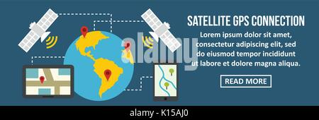 Satellite gps connection banner horizontal concept - Stock Photo