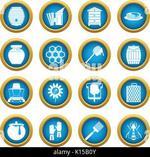 Apiary tools icons blue circle set - Stock Photo