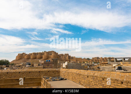 Amazing view from Saalam Singh Ki Haweli, carved yellow sandstone architecture in Jaisalmer, known as Golden City - Stock Photo
