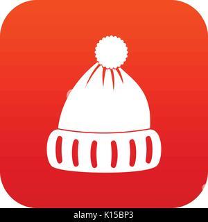 Woolen hat icon digital red - Stock Photo