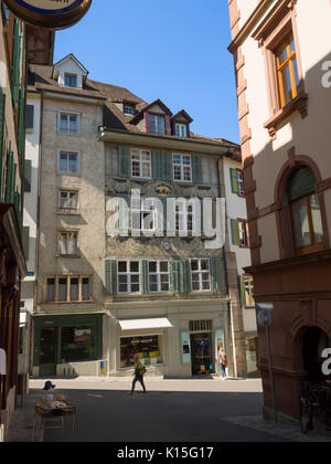 Old town Basel, Switzerland. View of a building on Spalenberg that was once a spice, sugar, tea and coffee shop. - Stock Photo