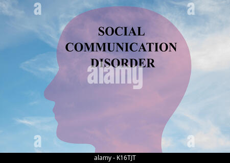 Render illustration of 'SOCIAL COMMUNICATION DISORDER' title on head silhouette, with cloudy sky as a background. - Stock Photo