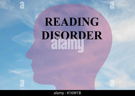 Render illustration of 'READING DISORDER' title on head silhouette, with cloudy sky as a background.