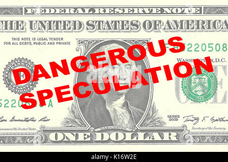 Render illustration of 'DANGEROUS SPECULATION' title on One Dollar bill as a background - Stock Photo