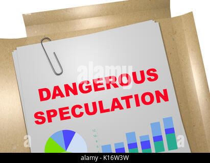 3D illustration of 'DANGEROUS SPECULATION' title on business document - Stock Photo