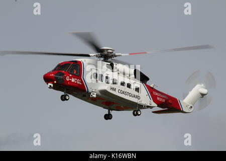 G-MCGL, a Sikorsky S-92A operated by Bristow Helicopters on behalf of HM Coastguard, at Prestwick International - Stock Photo