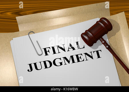 3D illustration of 'FINAL JUDGMENT' title on legal document - Stock Photo