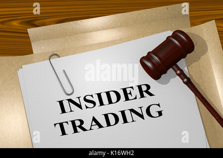 3D illustration of 'INSIDER TRADING' title on legal document - Stock Photo