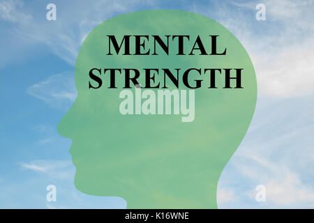 Render illustration of 'MENTAL STRENGTH' script on head silhouette, with cloudy sky as a background. - Stock Photo