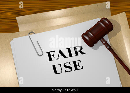 3D illustration of 'FAIR USE' title on legal document - Stock Photo
