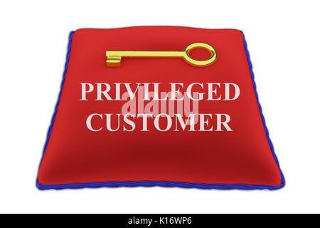 3D illustration of 'PRIVILEGED CUSTOMER' Title on red velvet pillow near a golden key, isolated on white. - Stock Photo