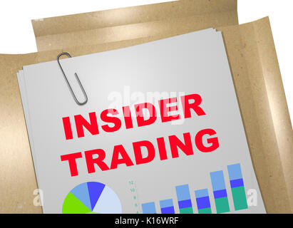 3D illustration of 'INSIDER TRADING' title on business document - Stock Photo