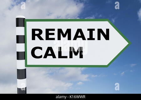 3D illustration of 'REMAIN CALM' script on road sign - Stock Photo