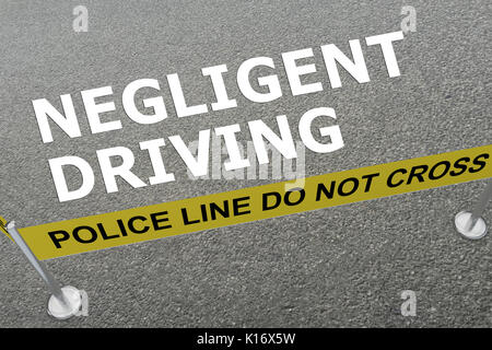 3D illustration of 'NEGLIGENT DRIVING' title on the ground in a police arena - Stock Photo