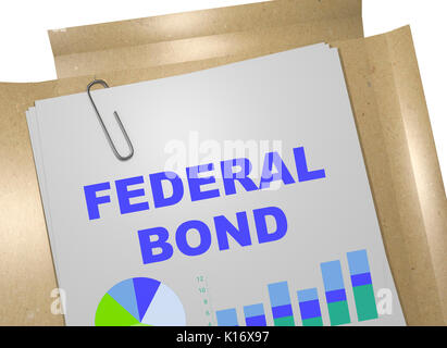 3D illustration of 'FEDERAL BOND' title on business document - Stock Photo