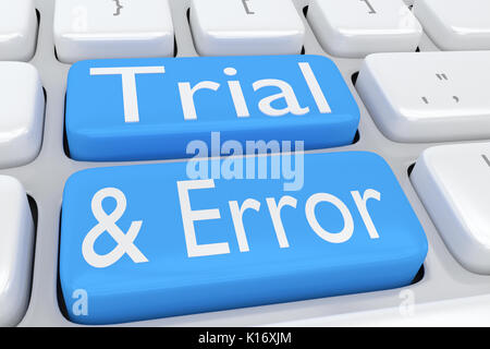 3D illustration of computer keyboard with the script 'Trial and Error' on two adjacent pale blue buttons - Stock Photo