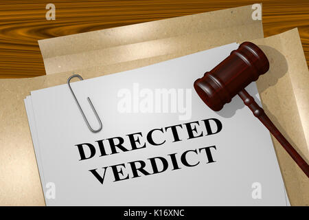 3D illustration of 'DIRECTED VERDICT' title on legal document - Stock Photo