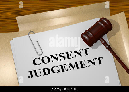 3D illustration of 'CONSENT JUDGEMENT' title on legal document - Stock Photo