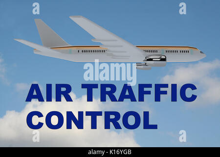 3D illustration of 'AIR TRAFFIC CONTROL' title on cloudy sky as a background, under an airplane. - Stock Photo
