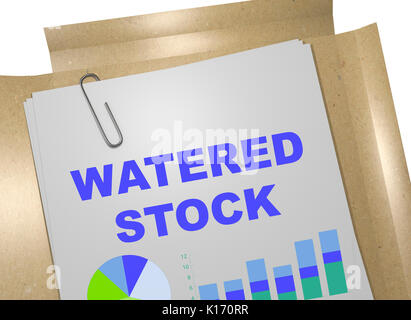 3D illustration of 'WATERED STOCK' title on business document - Stock Photo