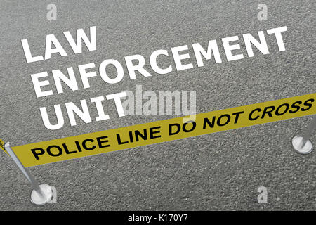 3D illustration of 'LAW ENFORCEMENT UNIT' title on the ground in a police arena - Stock Photo