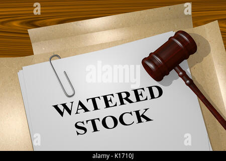 3D illustration of 'WATERED STOCK' title on legal document - Stock Photo