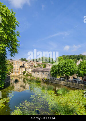 7 July 2017: Bradford on Avon, Somerset, England, UK - The River Avon from the Town Bridge. - Stock Photo
